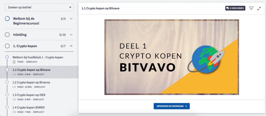 Op deze foto zie je het platform van de Crypto masterclass