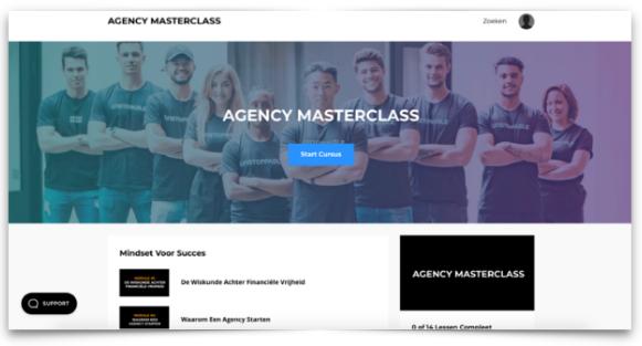 Op deze foto zie je de Agency Masterclass inhoud