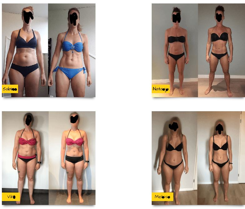 Op deze foto zie je resultaten van vrouwen van het Droog Trainen Protocol