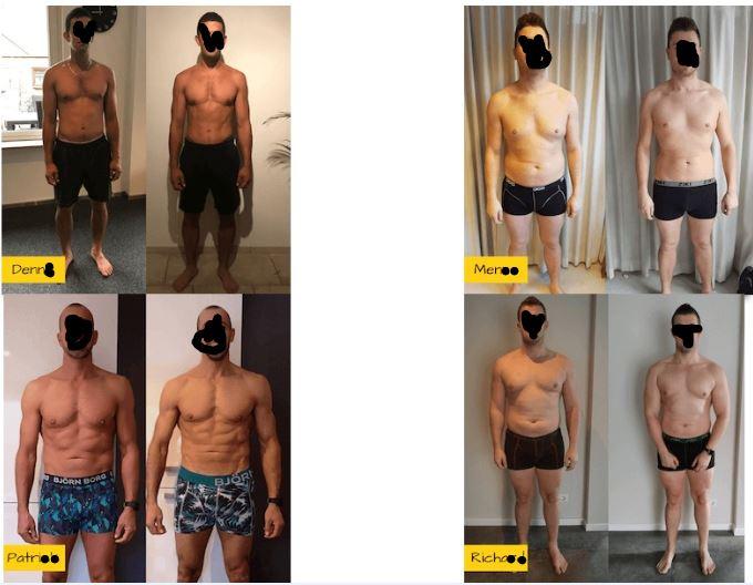 Op deze foto zie je mannen resultaten van het Droog Trainen Protocol