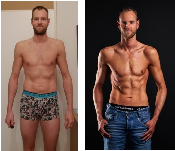 Op deze foto zie je een transformatie van mezelf van de mannen versie van de Droog Trainen Protocol voor Vrouwen