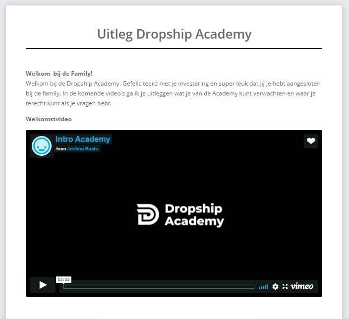 Op deze foto zie je de uitleg van de Dropship Academy 3.0