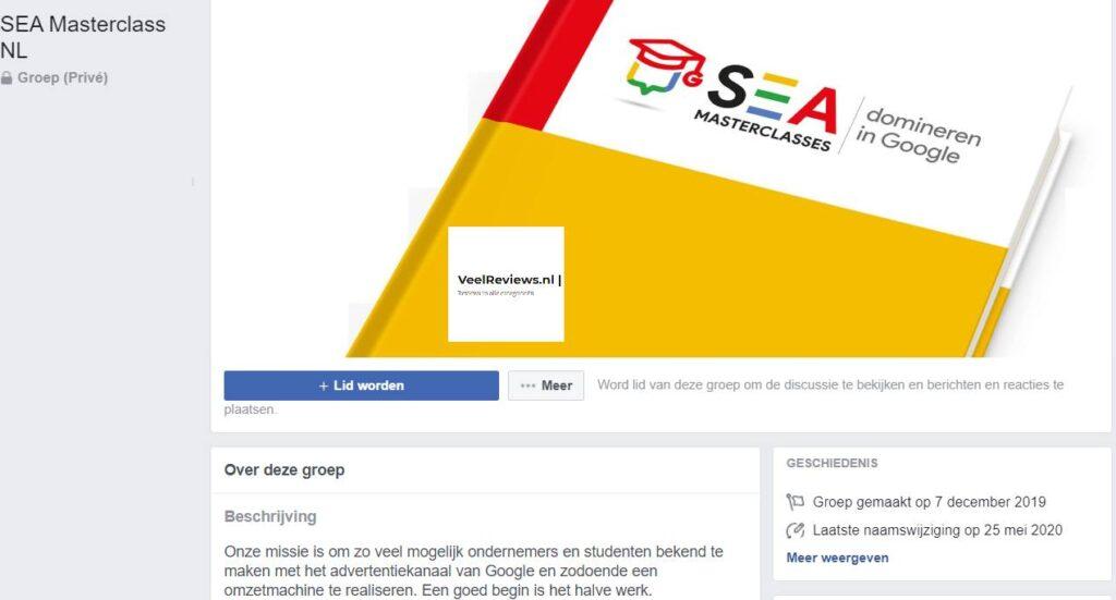 Op deze foto zie je de facebook SEA Masterclass community
