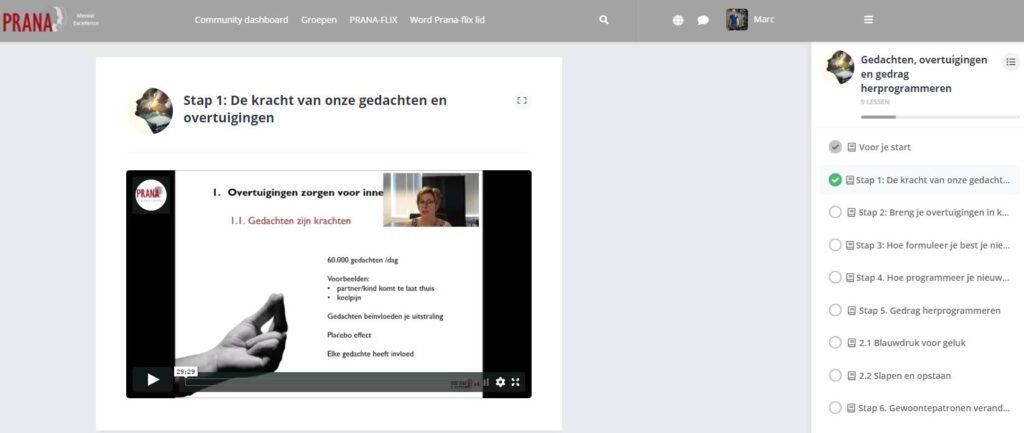 Hier zie je de online omgeving van de training Gedrag en Gedachten Herprogrammeren