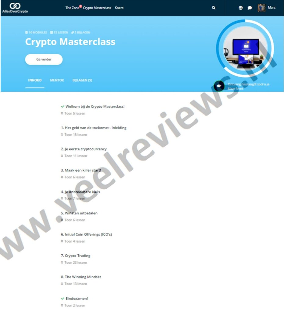 Op deze foto zie je alle modules van de Crypto Masterclass
