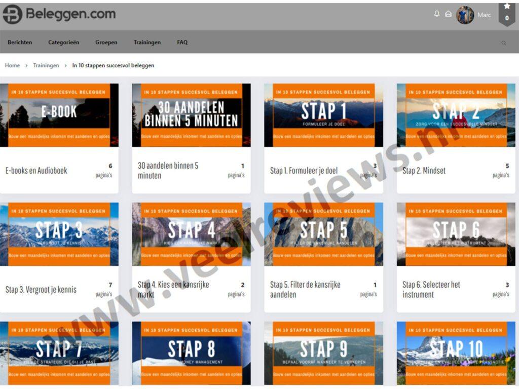 """Op deze foto zie je de online omgeving van """"in 10 stappen succesvol beleggen"""""""