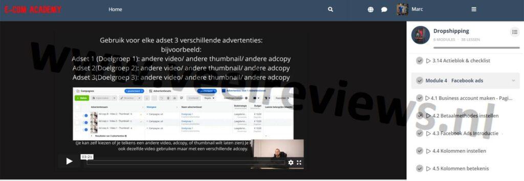 Op deze foto zie je module 4 facebook ads van de E-com Academy