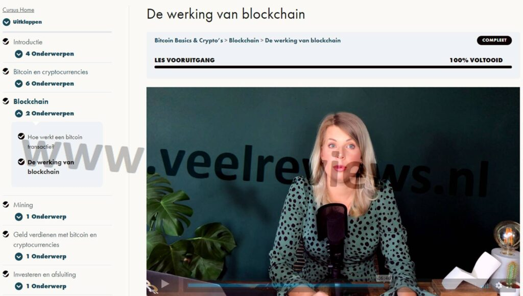 Op deze foto zien we hoofdstuk 3, video 12: De werking van Blockchain uit de Bitcoin Basics & Crypto's cursus