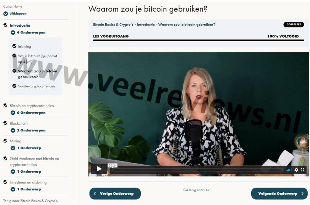 Op deze foto zien we de online omgeving van de Bitcoin Basics & Crypto's cursus