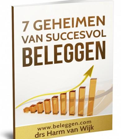 Op deze foto zie je het gratis E-book '7 geheimen van succesvol beleggen' van beleggen.com