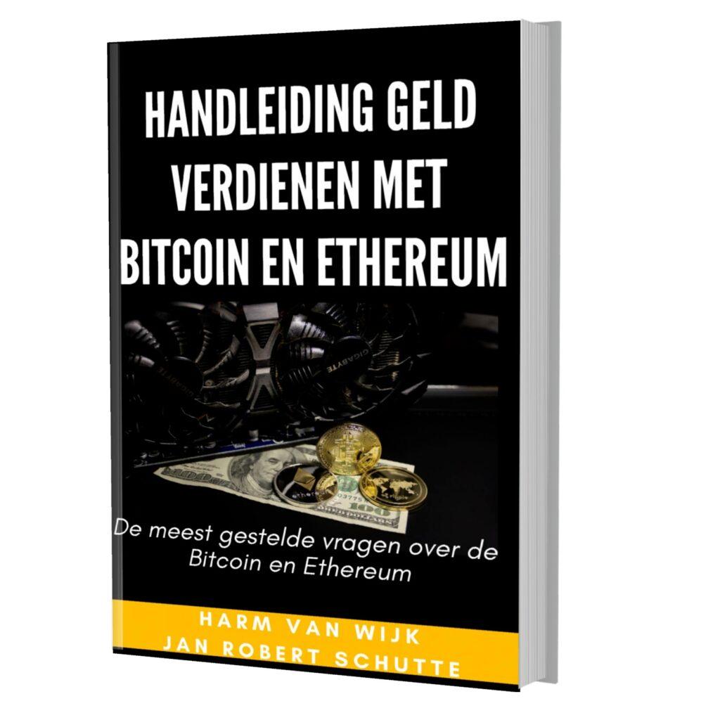 Op deze foto zie je het gratis E-book 'Geld verdienen met Bitcoin en Ethereum' van beleggen.com