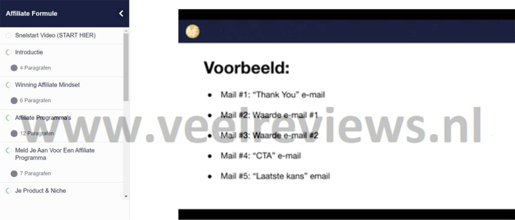 Op deze foto zien we module 10: email marketing formule van de Affiliate Formule