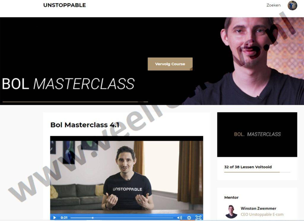 Op deze foto zie je de online omgeving van de Bol Masterclass
