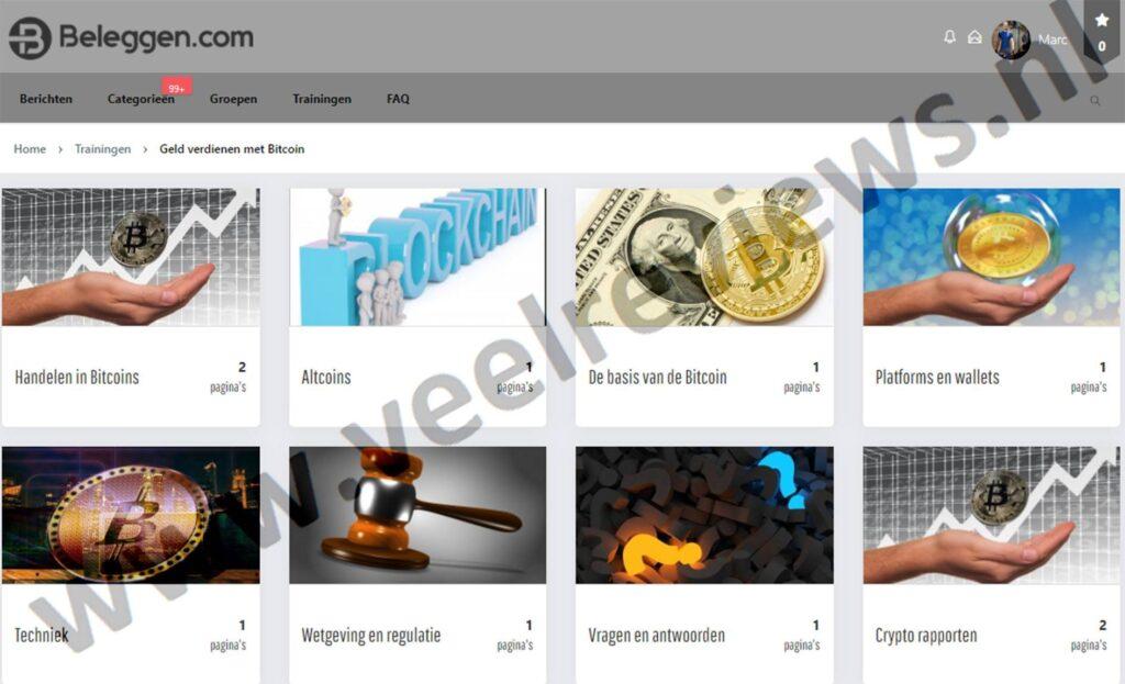 Op deze foto zie je de online omgeving van de x10 met crypto cursus