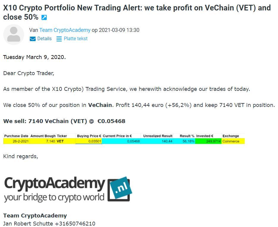 Op deze foto zie je hoe trading profit alerts werken tijdens de cursus x10 met crypto