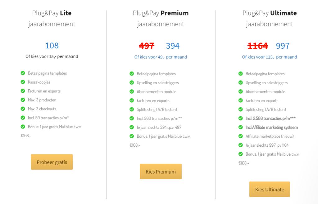 Op deze foto zie je de Plug & Pay prijzen