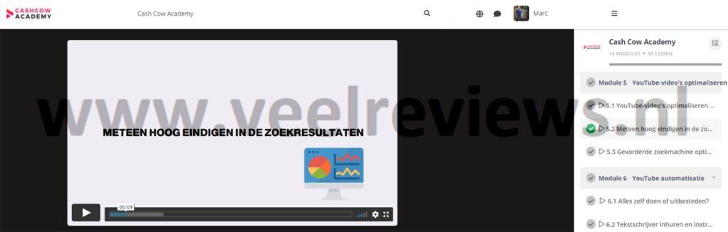 Op deze foto zie je Module #5 - YouTube video's optimaliseren en publiceren van de Cash Cow Academy