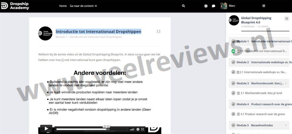 Op deze foto zie je Module #1 - Introductie tot Internationaal Dropshippen van de Dropship Academy 4.0