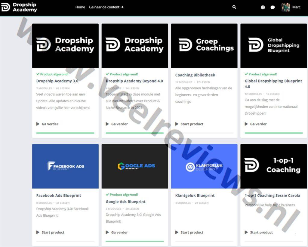 Op deze foto zie je de online omgeving van de Dropship Academy 4.0