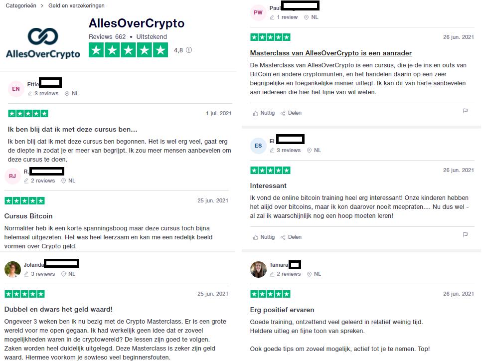 Op deze foto zie je AllesOverCrypto ervaringen van klanten, de makers van Crypto Signals