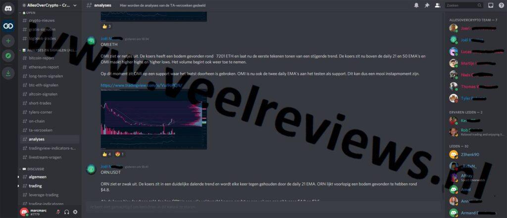 Op deze foto zie je het kanaal analyses van Crypto Signals