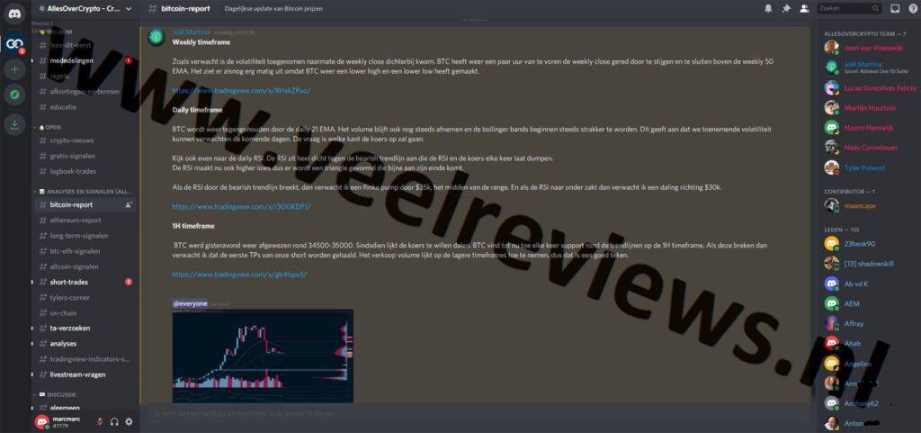 Op deze foto zie je het kanaal Bitcoin-report van Crypto Signals