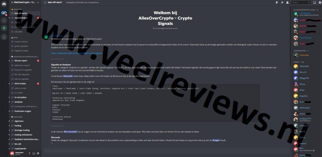 Op deze foto zie je de online omgeving van Crypto Signals van AllesOverCrypto