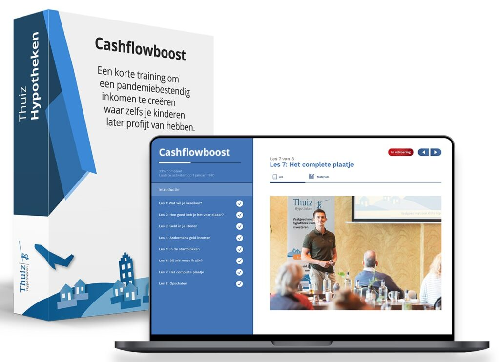 Op deze foto zie je Cashflowboost als extra optie op Vastgoed Community
