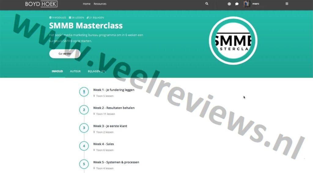 Op deze foto zie je de online omgeving van de SMMB masterclass