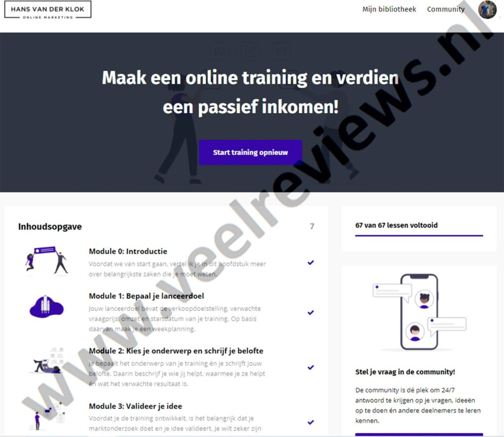 """Op deze foto zie je de online omgeving van het programma """"Maak een online training en verdien een passief inkomen!"""